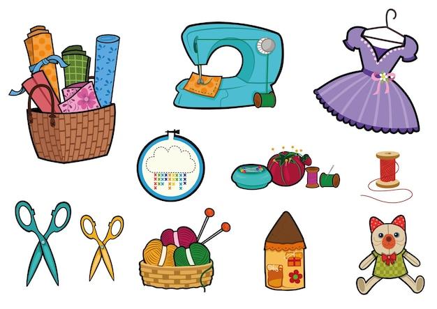 Ilustracja wektorowa materiałów do szycia i hobby zestaw obiektów hobby kreskówka