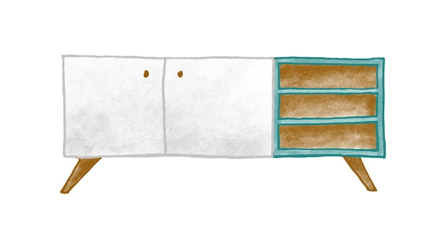 Ilustracja wektorowa meble drewniane. kolorowy stolik nocny na białym tle. stylowa szafka nocna z półkami. komoda retro. vintage element wnętrza domu w klasycznym stylu.