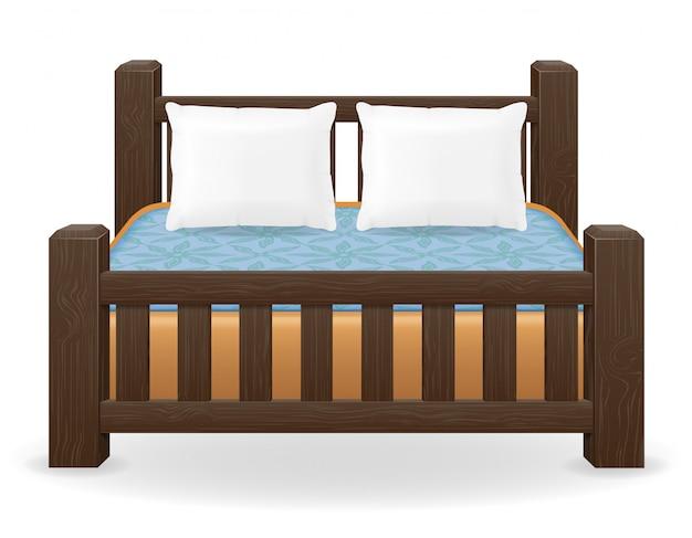 Ilustracja wektorowa meble podwójne łóżko