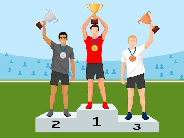 Ilustracja wektorowa mężczyzn stoją na podium zwycięzców i trzymają puchary zwycięzcy.