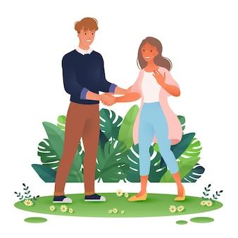 Ilustracja wektorowa mężczyzny i kobiety w codziennych ubraniach, ściskając ręce na białym tle