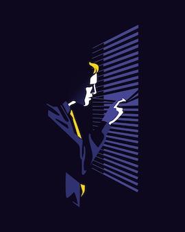 Ilustracja wektorowa mężczyzny w garniturze o prostym i minimalistycznym stylu zerkającym przez okno