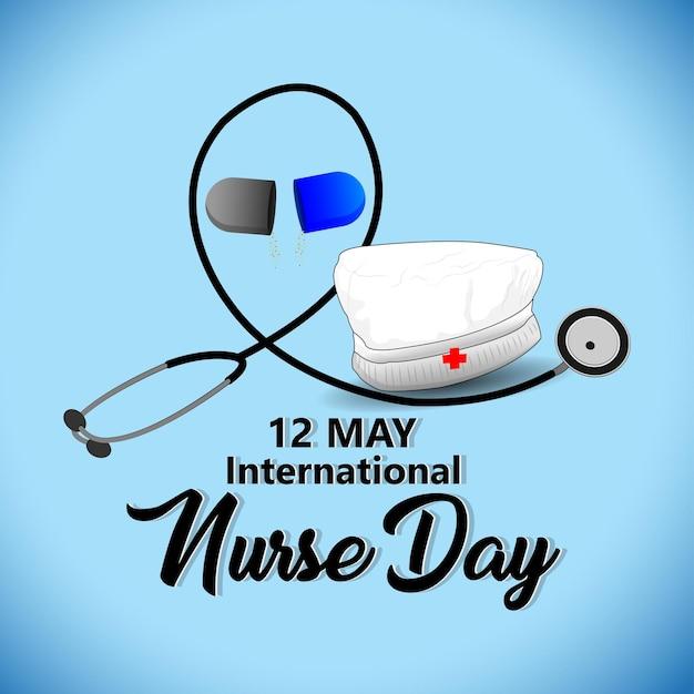 Ilustracja wektorowa międzynarodowego dnia pielęgniarki ze sprzętem medycznym
