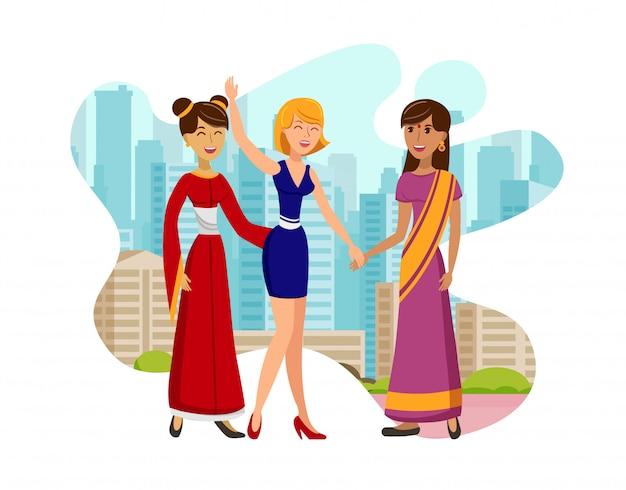 Ilustracja wektorowa międzynarodowej wizyty kolorowej