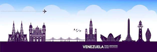 Ilustracja wektorowa miejsca podróży wenezuela.