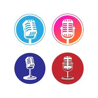 Ilustracja wektorowa mikrofonu mikrofonu element projektu dla symbolu znaku godło etykiety logo