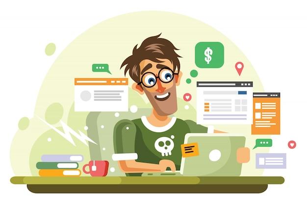Ilustracja wektorowa młody przedsiębiorca online