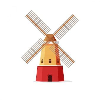 Ilustracja wektorowa młyn lub wiatrak w stylu płaski na białym tle