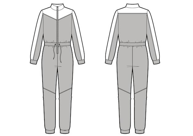 Ilustracja wektorowa moda kombinezon. ubranie sportowe