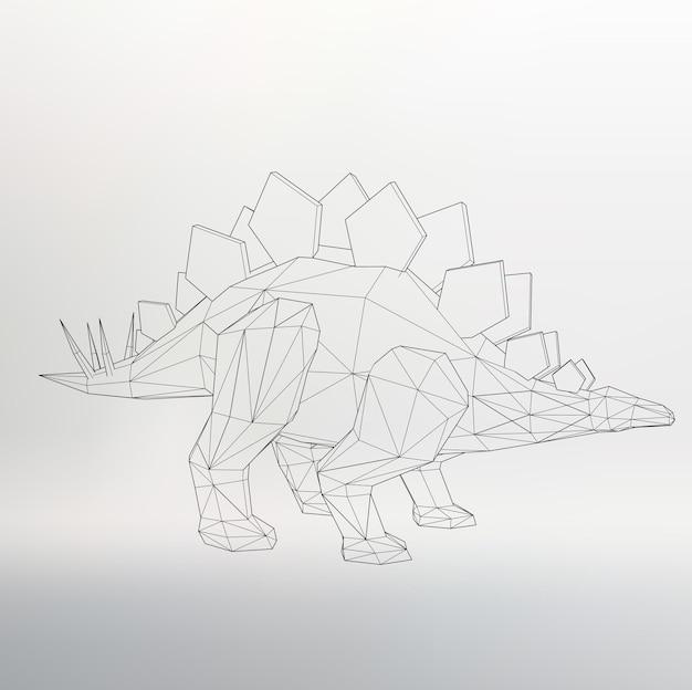 Ilustracja wektorowa modelu dinozaura. trójkąt wielokątny. siatka strukturalna wielokątów. streszczenie tło wektor koncepcja kreatywnych. papier firmowy i broszura w stylu wielokąta.