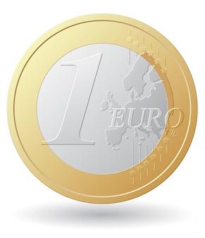 Ilustracja wektorowa monety jednego euro
