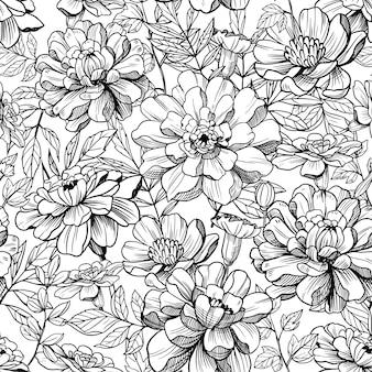 Ilustracja wektorowa monochromatyczne wzór kwiatowy kwiaty