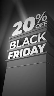 Ilustracja wektorowa monochromatyczne z wolumetrycznymi literami 3d black friday. 20 dwadzieścia procent taniej. szablon na sprzedaż, rabat, plakat, baner, ulotka, sklep, biznes, karty.