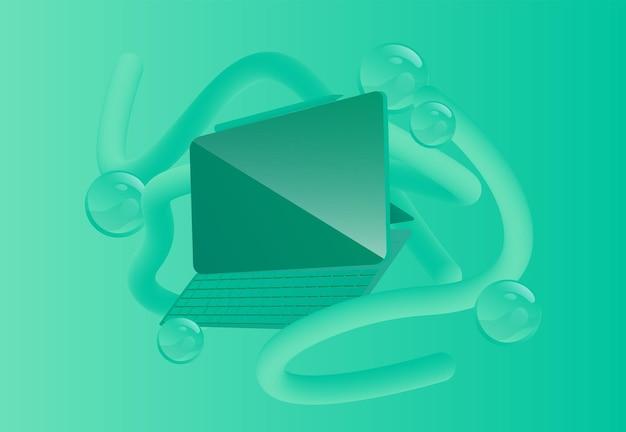 Ilustracja wektorowa monochromatycznego tabletu z abstrakcyjnymi kształtami