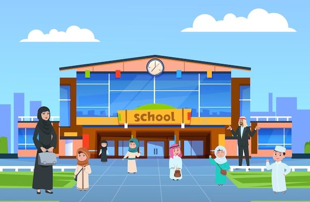 Ilustracja wektorowa muzułmańskich studentów płci męskiej i żeńskiej. arabskie dzieci i nauczyciele chodzą do szkoły