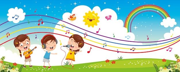 Ilustracja wektorowa muzyki dzieci