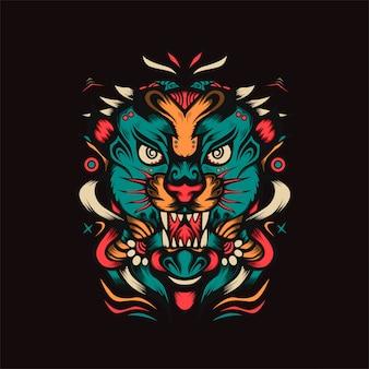 Ilustracja wektorowa myśliwego tygrysa