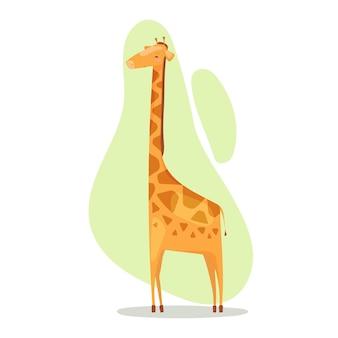 Ilustracja wektorowa na białym tle cętkowanej żyrafy afrykańskiej na zielonym tle w stylu kreskówki