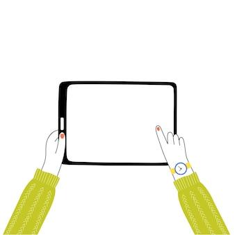 Ilustracja wektorowa na białym tle dziewczyna ręce trzymając tablet i dotykając ekranu.