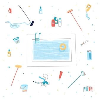 Ilustracja wektorowa na białym tle narzędzi i sprzętu do pielęgnacji basenu. szczotka, odkurzacz