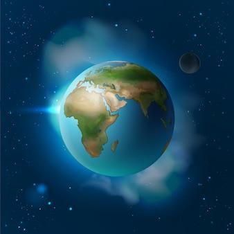 Ilustracja wektorowa na białym tle planeta ziemia w przestrzeni z księżycem i gwiazdami