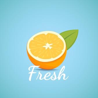 Ilustracja wektorowa na białym tle pomarańczowy świeżych owoców