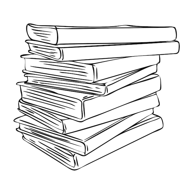 Ilustracja wektorowa, na białym tle stos niechlujnie złożone różne książki w czarno-białych kolorach, szkic ręcznie malowany rysunek