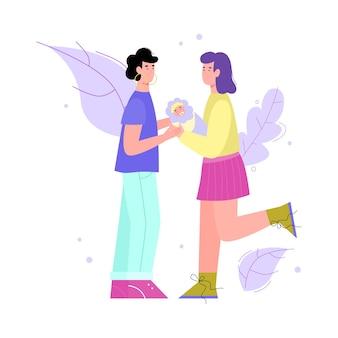 Ilustracja wektorowa na białym tle szczęśliwa para lesbijek tej samej płci z noworodkiem