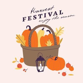 Ilustracja wektorowa na jesienne żniwa. logo w stylu szkicu słomiany kosz z dynią na zaproszenie na imprezę, imprezę.