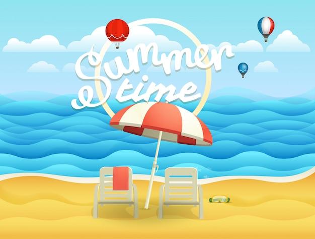 Ilustracja wektorowa nadmorski z parasolem. plażowy krajobraz