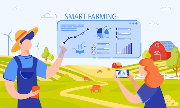 Ilustracja wektorowa napis smart farming.