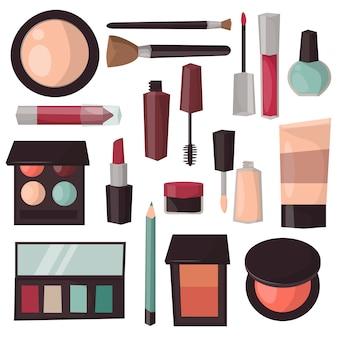 Ilustracja wektorowa narzędzia do makijażu na białym tle.