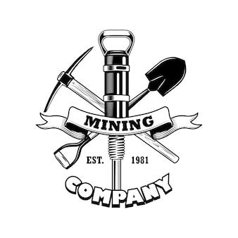Ilustracja wektorowa narzędzia górników. skrzyżowany twibill, łopata, młot pneumatyczny, tekst na wstążce. koncepcja firmy górniczej dla szablonów emblematów i odznak