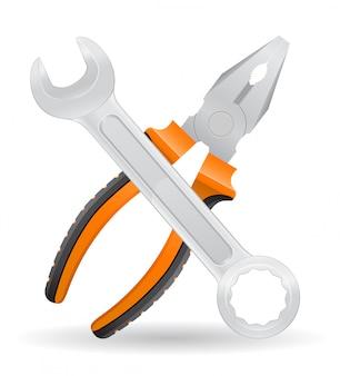 Ilustracja wektorowa narzędzia klucza i szczypce