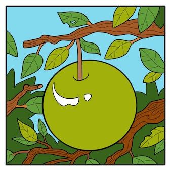 Ilustracja wektorowa natura, kolor tła, jabłko na gałęzi