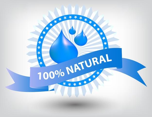 Ilustracja wektorowa naturalna niebieska etykieta