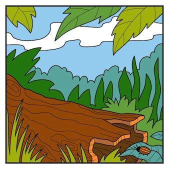 Ilustracja wektorowa, naturalny kolor tła. zwalone drzewo w lesie deszczowym