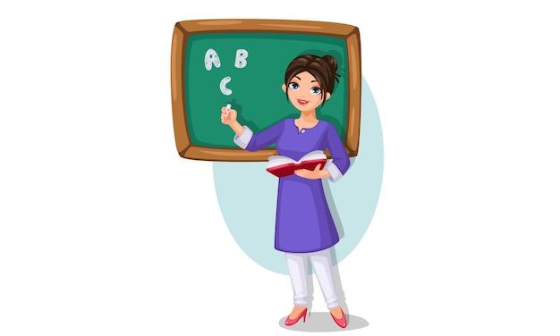 Ilustracja wektorowa nauczyciela w szkole z zieloną tablicą trzymając książkę