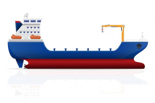 Ilustracja wektorowa nautyczny statek towarowy