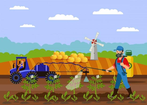 Ilustracja wektorowa nawóz rolnik opryskiwania