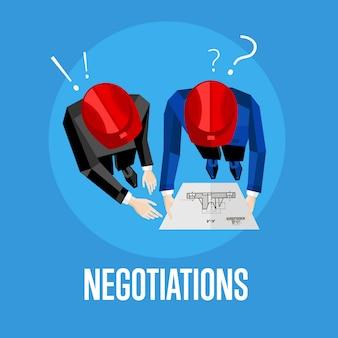 Ilustracja wektorowa negocjacji. widok z góry specjalistów budowlanych omawiających szczegóły projektu nad rysunkiem. dwóch inżynierów budowniczych w czerwonym kasku z planem