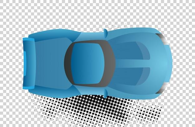 Ilustracja wektorowa niebieski samochód widok z góry