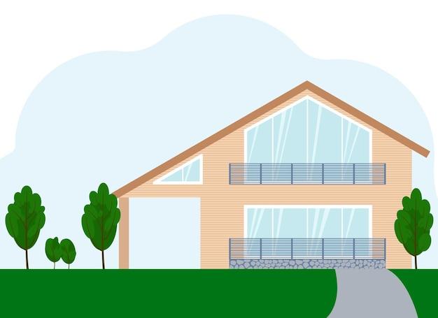 Ilustracja wektorowa niebieskiego dwupiętrowego budynku mieszkalnego z dużymi oknami. odosobniony