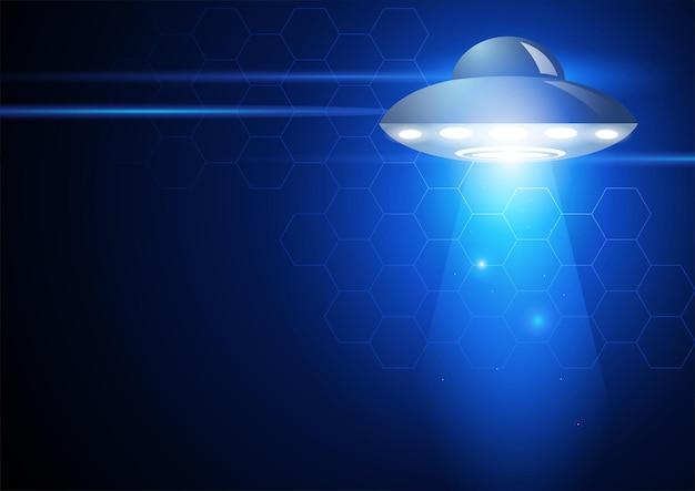 Ilustracja wektorowa niezidentyfikowanego obiektu latającego na futurystycznym tle