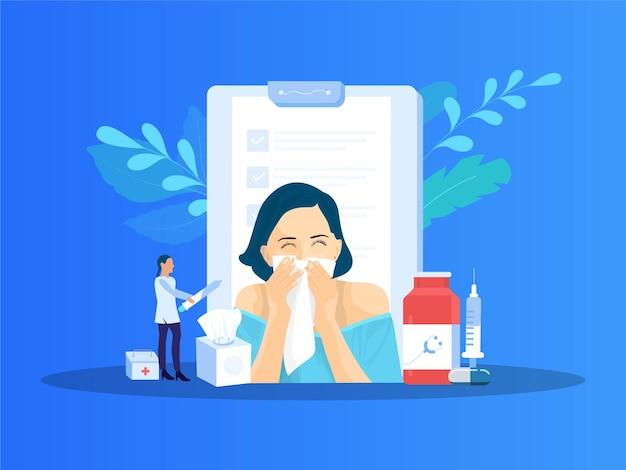 Ilustracja wektorowa nieżytu nosa kobieta zachorowała na grypę wydmuchiwanie nosa kicha w serwetkę