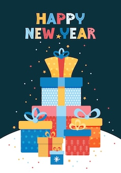Ilustracja wektorowa nowego roku dla karty z pozdrowieniami. kupie kolorowe pudełka na prezenty
