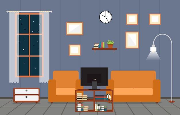 Ilustracja wektorowa nowoczesny dom rodzinny dom meble wewnętrzne
