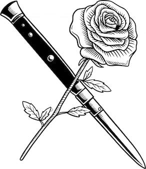 Ilustracja wektorowa nóż i róża