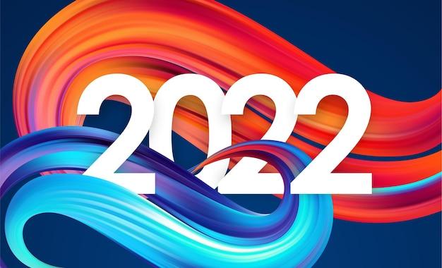 Ilustracja wektorowa: numer roku 2022 z kolorowym abstrakcyjnym skręconym kształtem obrysu farby. modny design
