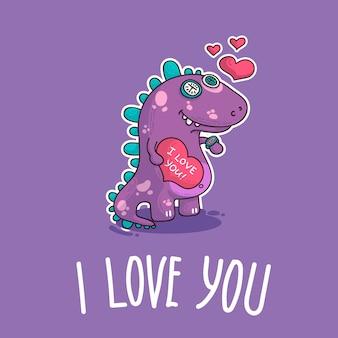 Ilustracja wektorowa o dinozaur w miłości